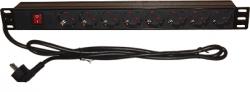 Блок электрических розеток на 8 гнезд, в пластиковом корпусе с выключателем, вилка CEE 7/7
